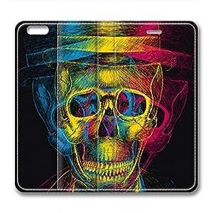 iCustomonline Leather Case for iPhone 6 Plus, Skulls Stylish Durable Leather Case for iPhone 6 Plus