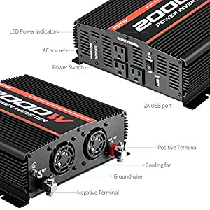 POTEK 2000W Power Inverter Three AC Outlets 12V DC to 110V AC Car Inverter with USB Port