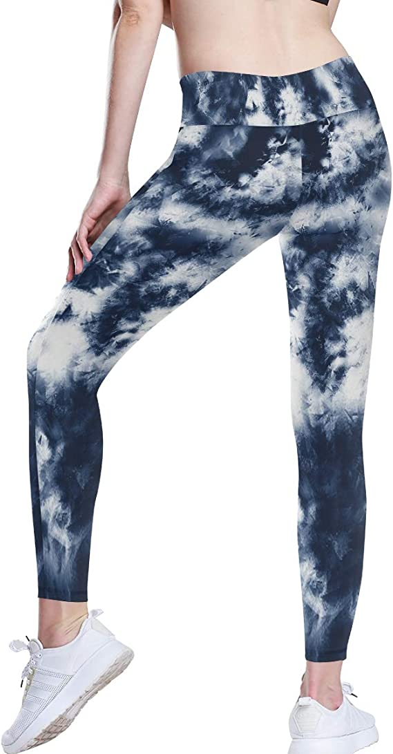 Mllkcao High Waist Yoga Pants for Women Sweatpants for Women Leggings with Pockets Stretch Tie-dye Breathable Hip Lifting Exercise Bubble Yoga Pants S-3XL