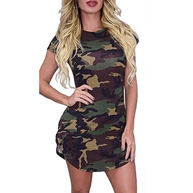 ba90e31f7ace0 Women Summer Casual O-neck Camouflage Print Bodycon Slim fit Mini Dress S