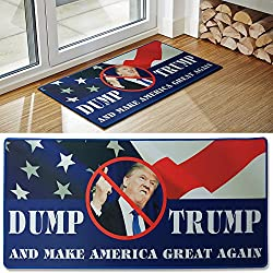 "Dump Trump Novelty Doormat, Includes Dump Trump Bumper Sticker,HilariousGag Gift, Send To Your Friends And Family, The Maker Of The Best Selling Trump Toilet Paper, 33"" x 16"""
