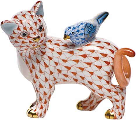 Herend Kitten Figurine in Rust Fishnet Pattern with Gold Accent