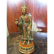 Standing Buddha Sculpture Handmade Brass Statue 7inch