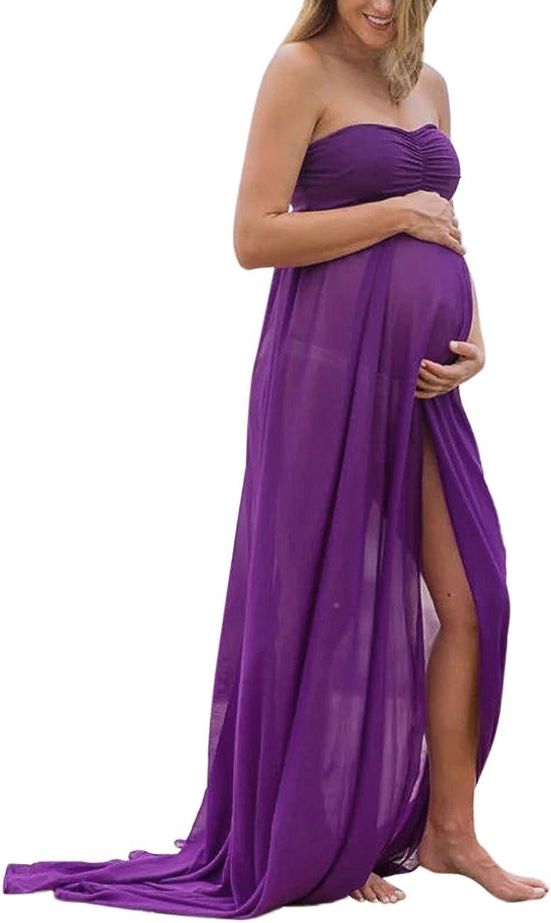 KOJOOIN Abiti Eleganti Donne Incinte Vestiti Donna maternit/à in Chiffon Incinta Fotografia Puntelli Fancy Servizio Fotografico Abito Lungo