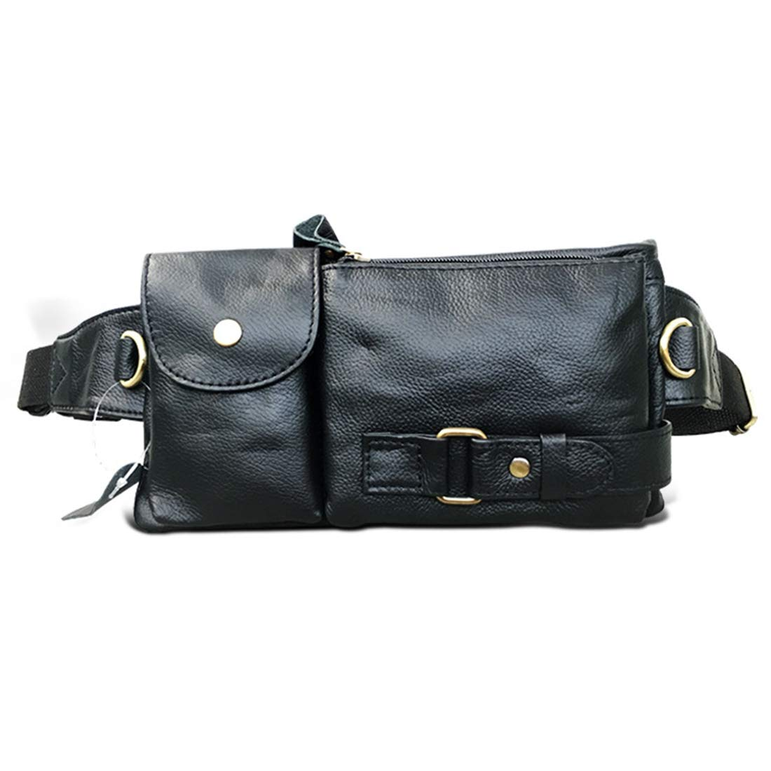 Color : Black RABILTY Belt Holster Bag Fanny Waist Pack Crossbody Bag for Men Boy Black Cowhide Travel Money Belt RFID Blocking