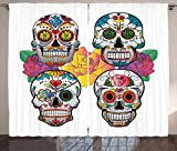 Cheap Ambesonne Sugar Skull Decor Curtains, Different Types of Skulls Rich Colorful Ornaments Roses Border Carnival, Living Room Bedroom Window Drapes 2 Panel Set, 108 W X 84 L Inches, Multicolor