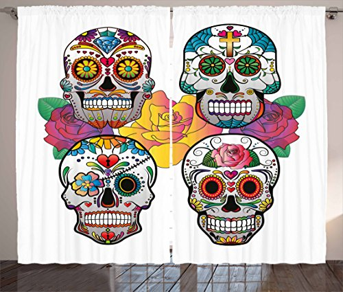 Realistic Rose Border (Ambesonne Sugar Skull Decor Curtains, Different Types of Skulls Rich Colorful Ornaments Roses Border Carnival, Living Room Bedroom Window Drapes 2 Panel Set, 108 W X 84 L Inches, Multicolor)