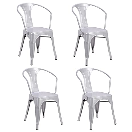amazon com costway tolix style dining chairs industrial metal