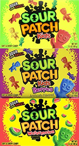 Sour Patch Kids Variety Combo, Berries 3.1 oz, Watermellon 3.5 oz & Sour Patch Kids 3.5 oz (Pack of - They They First Sour Re Sweet Re Then