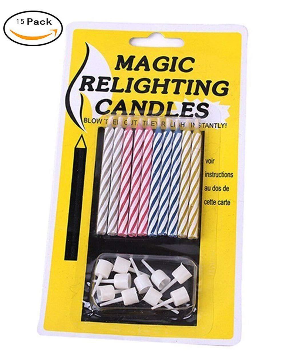 Touch Life 2er-Packung Magische Kerzen mit Halter, nicht ausblasbare Geburtstagskerzen, plastik, Mehrfarbig,
