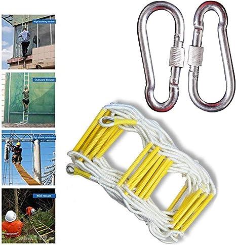 LATG Escalera De Cuerda Blanda - Resistente Al Fuego Emergencia Seguridad contra Incendios Escalera De Evacuación con Mosquetones Gancho para Niños Adultos Adecuado para La Escalada En Incendios,30M: Amazon.es: Deportes y aire