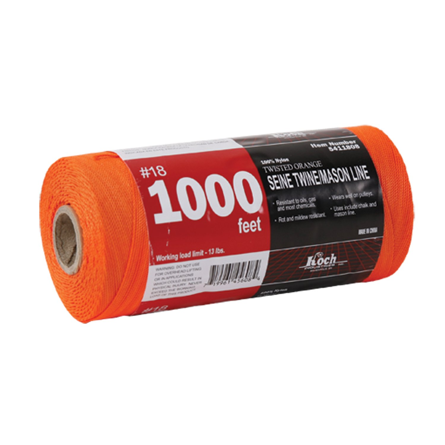 Koch Industries Twisted Mason Line, 18 by 1000 Feet, Orange, Tube