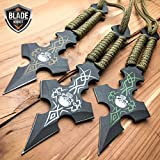3PC 6. 5'' Ninja Tactical Skull CROSS Combat Naruto Kunai Throwing EcoGift Nice Knife with Sharp Blade Set NEW- Great For Fun And Practical Use