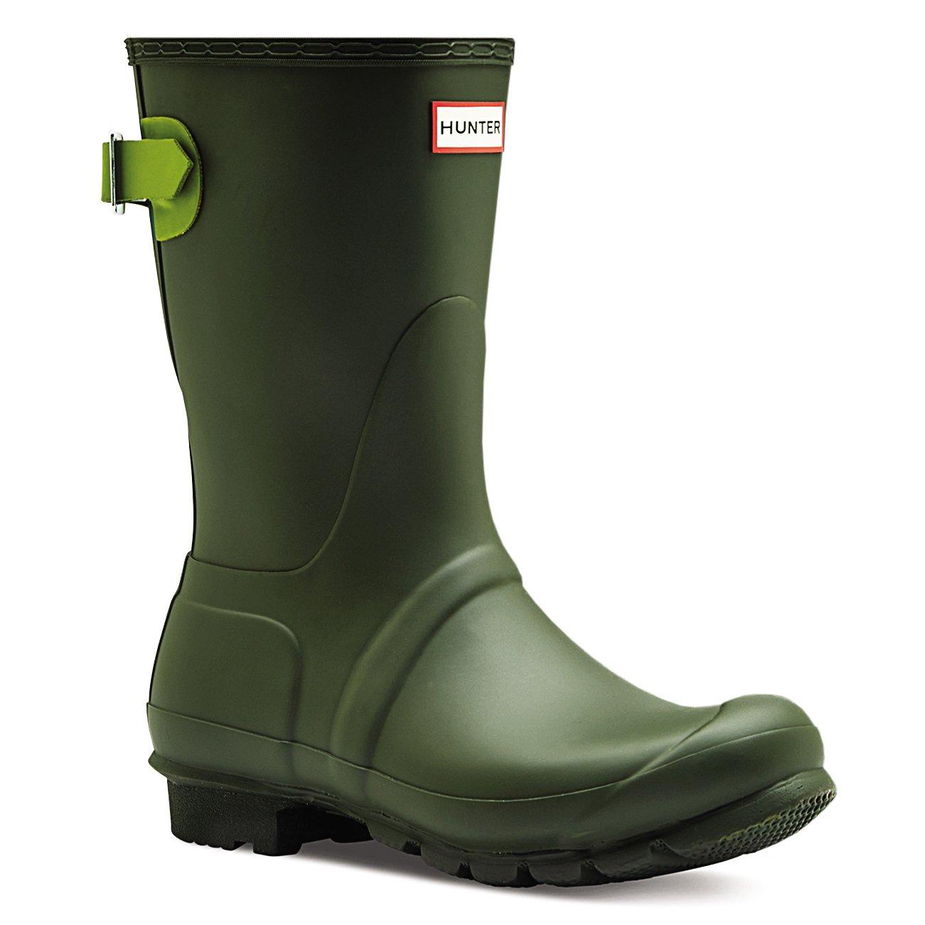 Hunter Womens Original Adjustable Back Short Snow Waterproof Rain Boots - Dark Olive/Kelp - 5