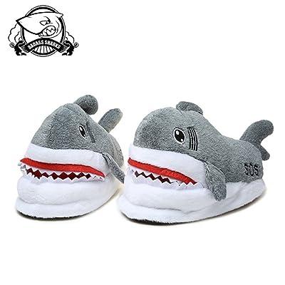 BADASS SHARKS Winter Animal Furry Slipper Warm Soft Bottom Home Indoor Men Women Shark Shape Slippers Anti Slip Loafers