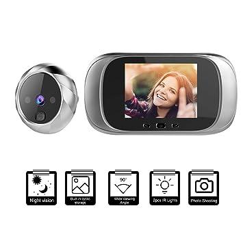 Tomas de Fotos para Seguridad del Hogar-Plata OWSOO Mirilla Digital con Pantalla LCD de 2.8 Pulgadas Soporte Vision Nocturna Visor Mirilla Puerta