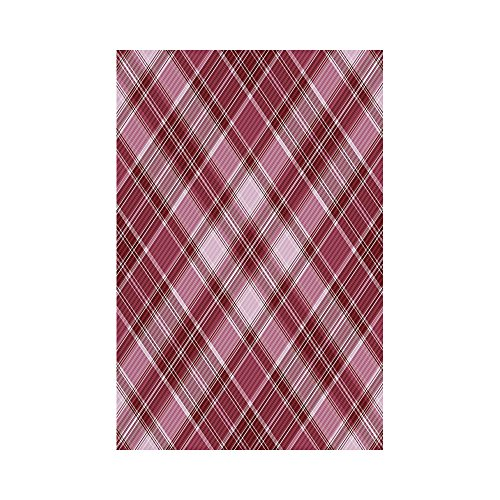 (Polyester Garden Flag Outdoor Flag House Flag Banner,Checkered,Cross Checkered Pattern with Diagonal Strips and Rhombus Shapes Decorative,Dried Rose Ruby and White,for Wedding Anniversary Home Outdoor)