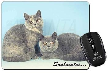 Británicos Gatos - Crema Azul Soulmates Estera del ratón del ordenador regalo