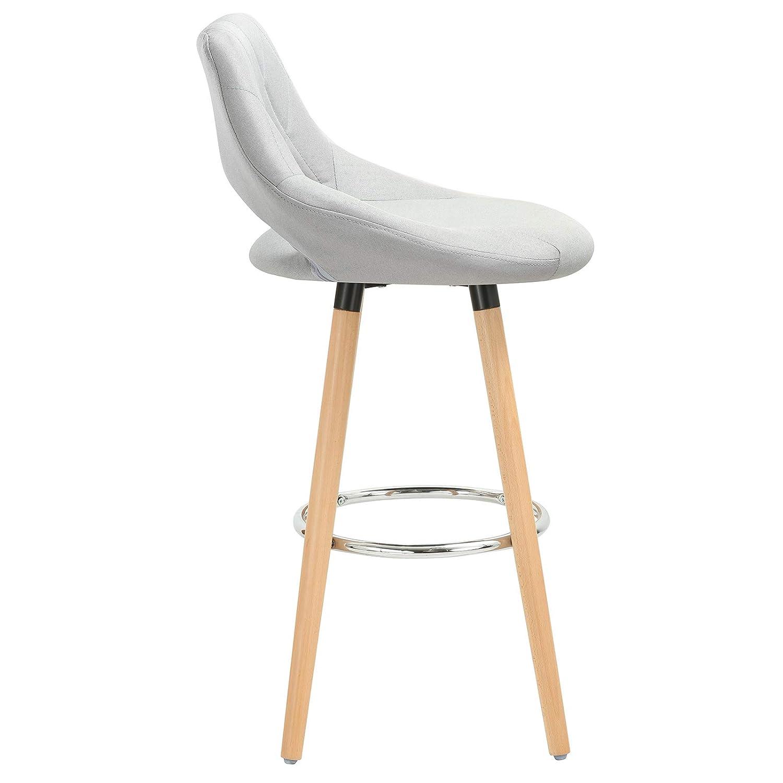 WOLTU 4er Set Barhocker Barstuhl Barstuhl Barstuhl Tresenhocker Bistrohocker Design Hocker, Sitzfläche aus Kunstleder, Holzgestell, mit Fußstütze, Weiß, BH111ws-4 a526b0