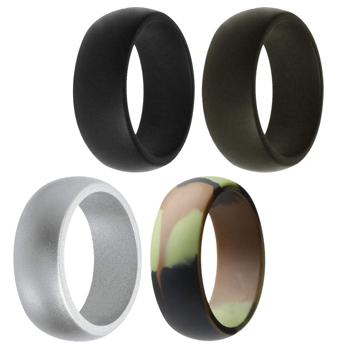 Army Green Size 9 Black,Silver,Grey Assorted Colors Rubber Wedding Bands for Men Silicone Wedding Ring for Men 4 Pack G.F