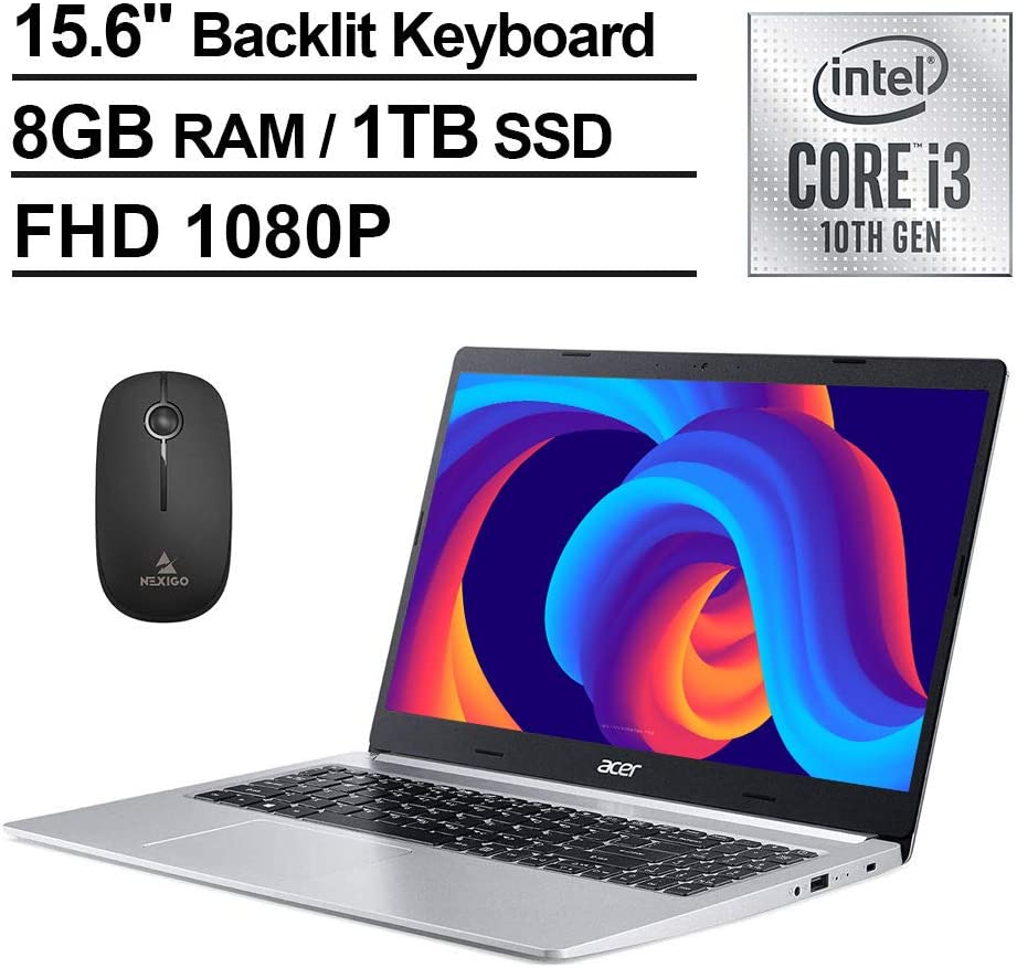 2020 Acer Aspire 5 15.6 Inch FHD 1080P Slim Laptop| Intel Core i3-10110U (Beats i5-7200U)| 8GB RAM| 1TB SSD| Backlit KB| WiFi| Bluetooth| Windows 10 S + NexiGo Wireless Mouse Bundle
