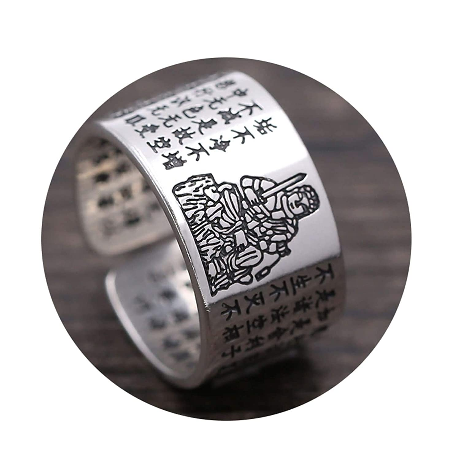 AMDXD Jewellery S925 Sterling Silver for Men Wedding Bands Buddhism Heart Sutra Silver Black Rings Size 8