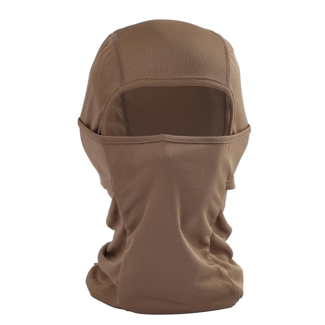 Bolayu Outdoor Sports Headgear Warm Scarf Quick-drying Fabric Hat Tactical Mask Unisex Warm Balaclava Helmet Coffee