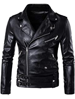 AOWOFS Mens Faux Leather Jacket Suede Thicken Motorcycle Diagonal Zipper Shearling Lapel Winter Jacket