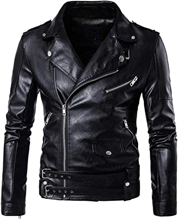 Kids Black Boy Jacket Trench Coat Turn-down Collar Leather Outwear Full Zips UP