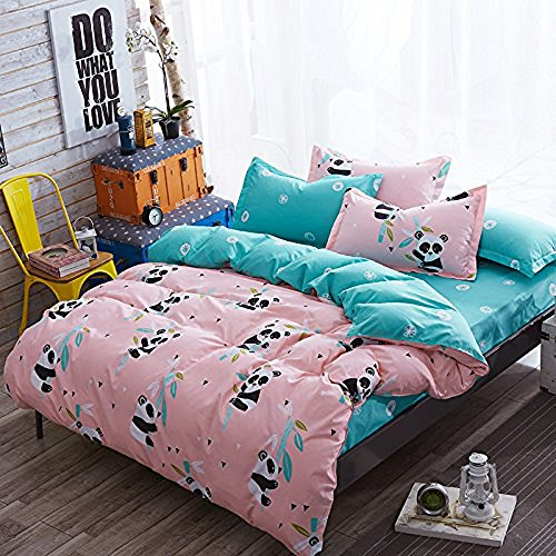 Two Pandas (Hxiang 3pcs Kids Bedding Sheet Set One Duvet Cover Without Comforter Two Pillowcases Twin Full Queen King Size Panda Design (Queen, pink))