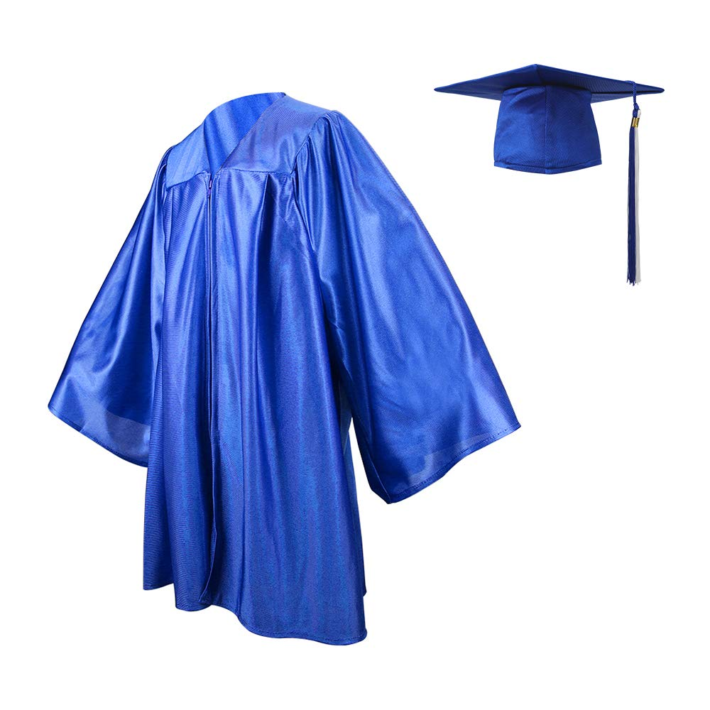 Kindergarten Graduation Gown Cap Set,Royal Blue/White Tassel with ...