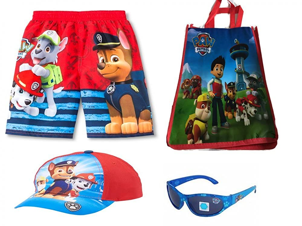Nickelodeon Paw Patrol Characters Swim Trunks and Ready for The Beach Set Red)
