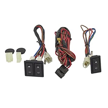 universal power window switch kit rocker design with bezels, switch \u0026 wiring harness for 2 door pickup truck suv van car autoandart Wiring Harness Pinout Diagram