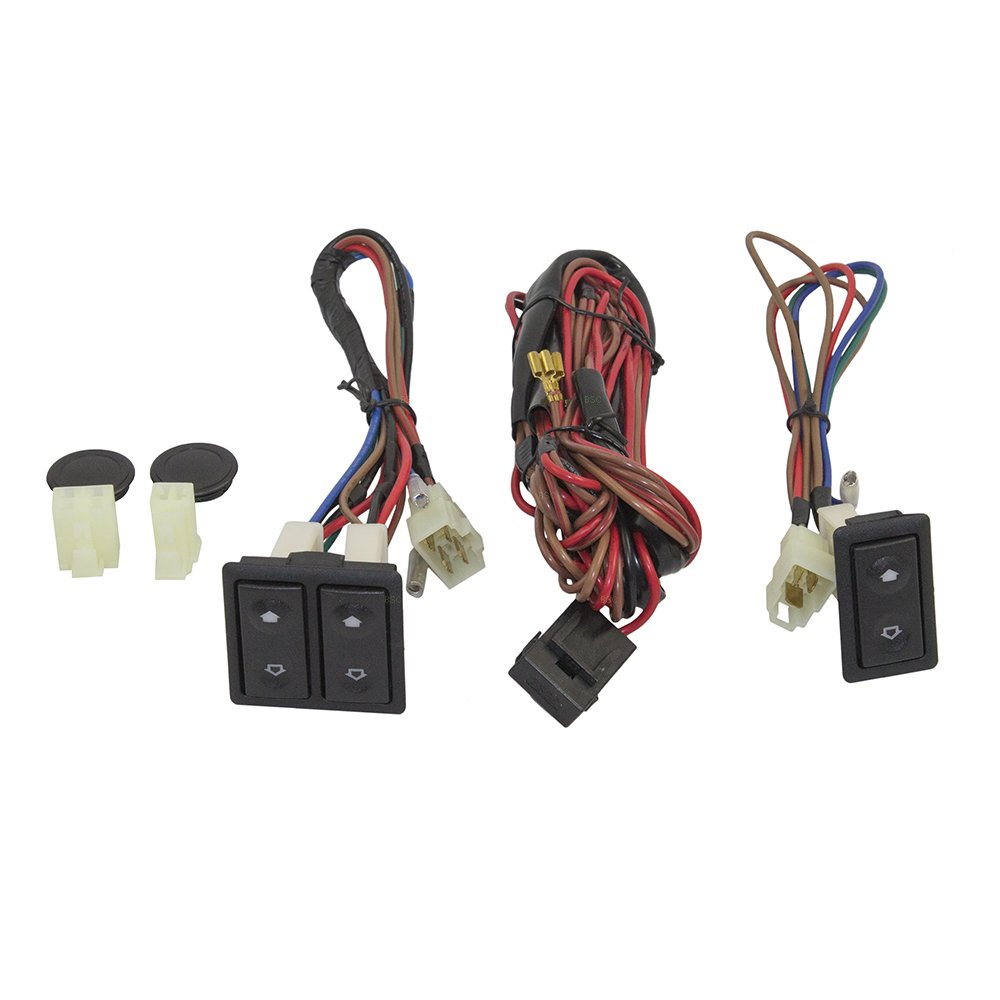 Universal Power Window Switch Kit Flat Design with Bezels, Switch & Wiring Harness for 2-Door Pickup Truck SUV Van Car by Brock