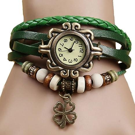 54a8e0a07138 Wa Reloj de Pulsera Brazalete Mujer Cuarzo Reloj de Pulsera del Retro del  Flores
