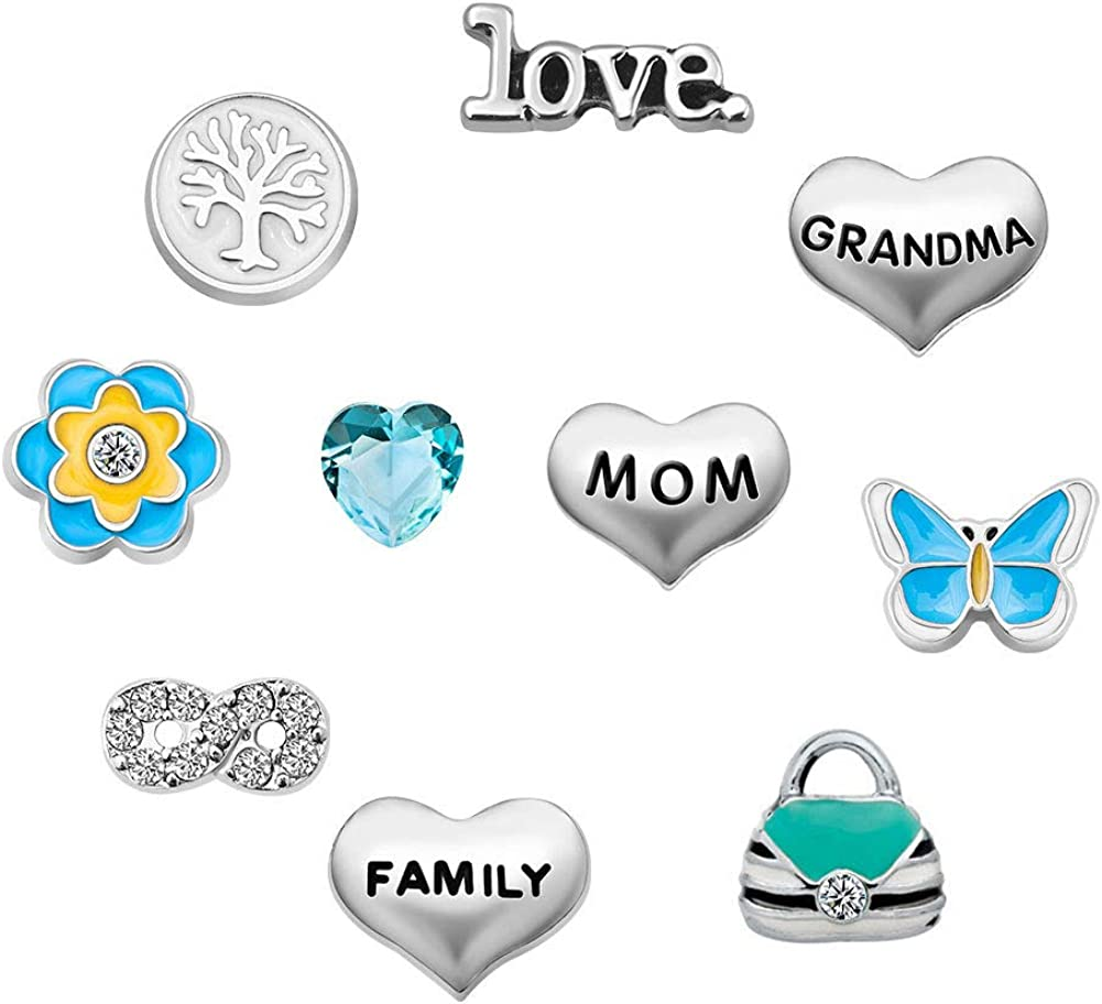 Mother's Day Mom Butterfly 10 Pcs Floating Charms for Synthetic Glass Living Memory Lockets Necklace & Bracelets