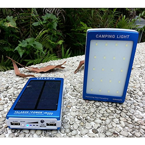 TALABOX 15000mah Portable Blue solar charger Outdoor travelling Camping lamp solar power bank solar battery charger solar backup battery with LED Light Charging Compatible for Iphone6s,6,6 Plus,5,5s and Sumsung S6,S5,S4,note5,note4,note3,Blackberry,Nokia,HTC ,HUAWEI And All Android Smart Phones,Cell Phones,Tablet PC,Digital Cameras and other sports USB devices.(Blue)