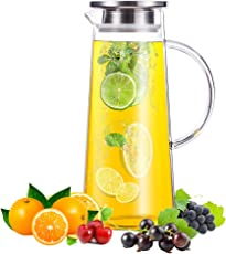 50 Ounces Glass Water Pitcher with Stainless Steel Lid Water Carafe for Juice and Iced Tea