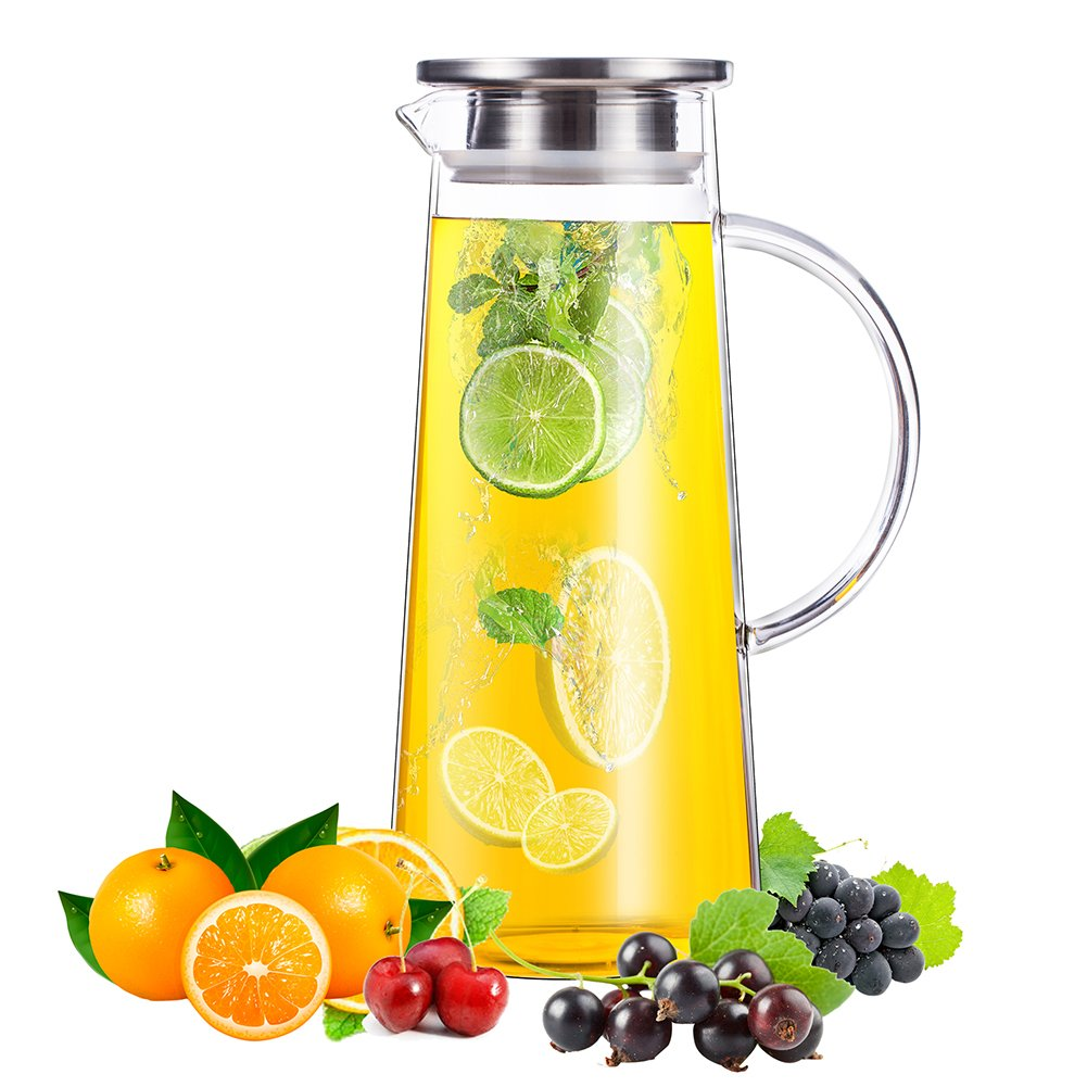 50 Ounces Glass Pitcher with Stainless Steel Lid Water Carafe for Juice and Iced Tea
