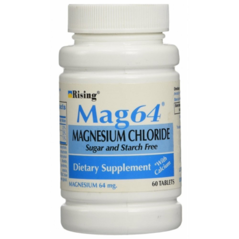 Rising Mag64 Magnesium Chloride with Calcium Tablets 60 ea (Pack of 2)