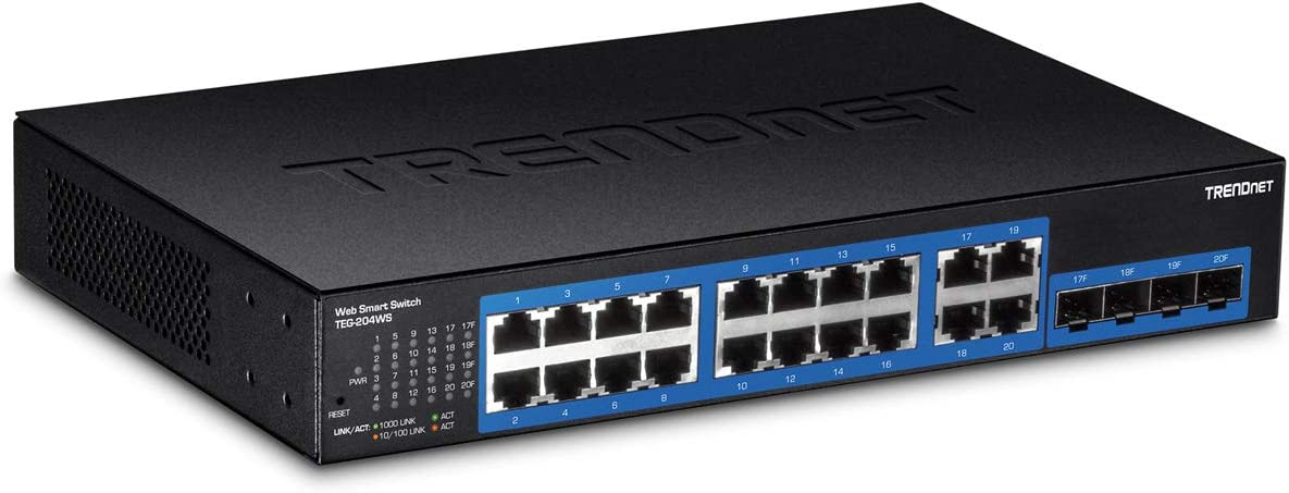 TRENDnet 20-Port Gigabit Web Smart Switch, 16 x Gigabit Ports, 4 x shared Gigabit Ports (RJ-45/SFP), VLAN, QoS, LACP, IPv6 Support, 40 Gbps Switching Capacity, Lifetime Protection, TEG-204WS,Black