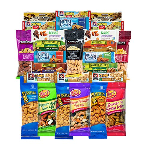 Healthy Mixed Bars & Nuts Snacks Gift Pack Raw & Delicious Nuts & Bars Party Mix, Crunchy & Nutritional Variety Nuts, Almonds, Cashews, Peanuts Variety Pack Bulk Care Package 26 Count by Veratify