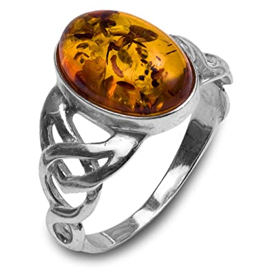Honey Amber Sterling Silver Oval Ring