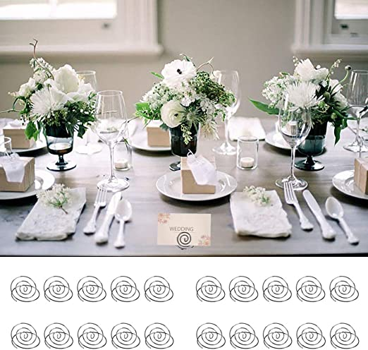 Table Number Holder Name Place Card Holder Memo Clip Holder Stand Note Holder Pictures Card Paper Menu Clip 20PCS Silver