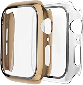 [2 Pack] GBPOOT Compatible with Apple Watch Case 40mm with Screen Protector Tempered Glass,Ultra-Thin TPU Full Screen Protector Film,Hard PC Shockproof Bumper Cover for iWatch Series SE/6/5/4