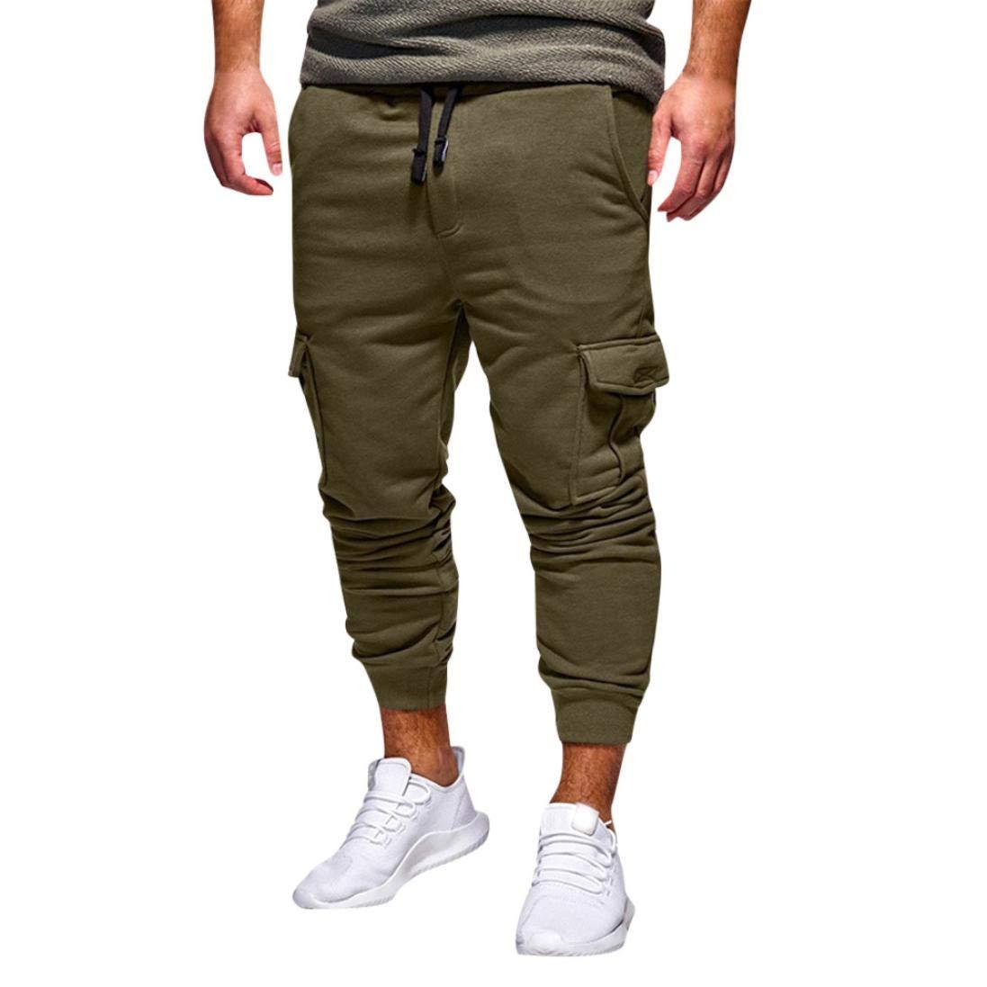 Realdo Hot!Clearance Sale Fashion Men's Sport Fitness Casual Loose Sweatpants Drawstring Jogger Pant(X-Large,Green)