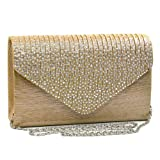 Dasein Ladies Frosted Satin Evening Clutch Purse Bag Crossbody Handbags Party Prom Wedding Envelope