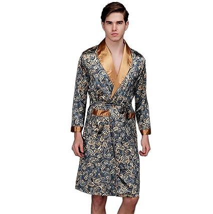 Pakamo de los hombres Seda pijama Manga larga de gran tamaño Bata de noche masculino Batas