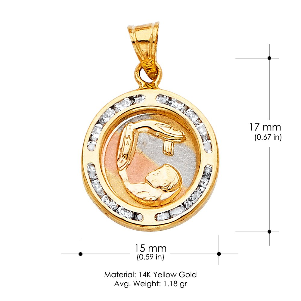 14K Yellow Gold Baptism Cubic Zirconia CZ Religious Charm Pendant with 0.8mm Box Chain Necklace