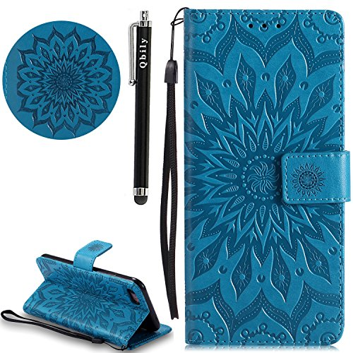 Embossed Strap - iPhone 8 Case,Qbily Embossed Flower Mandala [Card Slots] Magnetic PU Leather Protective Wallet Case with Stylus Wrist Strap Kickstand Flip Cover for Apple iPhone 7 / iPhone 8 (Blue)